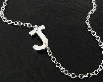 Sideways Initial Necklace - Your Initial Hammered Sterling Silver Necklace - You Asked For It, So Here It Is