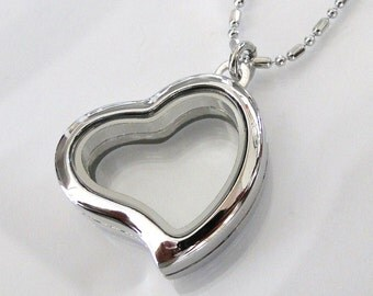 3-D Glass Heart Locket - You asked For It - I Got It For You - Small Heart Shaped Rhodium Coated Silver Locket