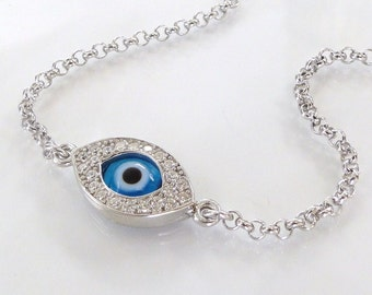 Evil Eye Bracelet As Seen On Kim Kardashian And Kelly Ripa - NEW - Celebrity Style, Sterling Silver Lucky Eye