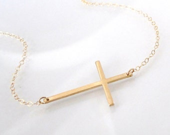 Sideways Cross Necklace Set Off Center - 14K Gold Filled, Thin And Sleek, Kelly Ripa