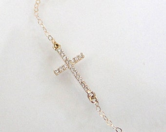 Small Diamond Sideways Cross Necklace, 14K Yellow or White Gold, Kelly Ripa, Taylor Jacobson, Celebrity Jewelry