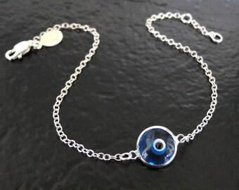 Lucky Evil Eye Bracelet, Evil Eye Jewelry, Protective Jewelry - Sterling Silver - Celebrity Style Jewelry