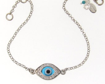 Evil Eye Bracelet As Seen On Kim Kardashian And Kelly Ripa Celebrity Style, Sterling Silver With Cz's