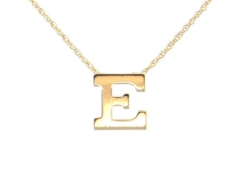 Gold Initial Necklace, Personalized Necklace, Gold Chain - 14K SOLID GOLD Ultra Feminine Initial Monogram Necklace -  Letter of Your Choice