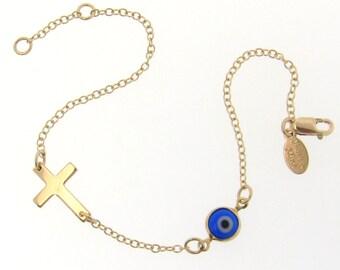 Lucky Evil Eye And Sideways Cross Bracelet - 14K Gold Filled - Celebrity Style Jewelry
