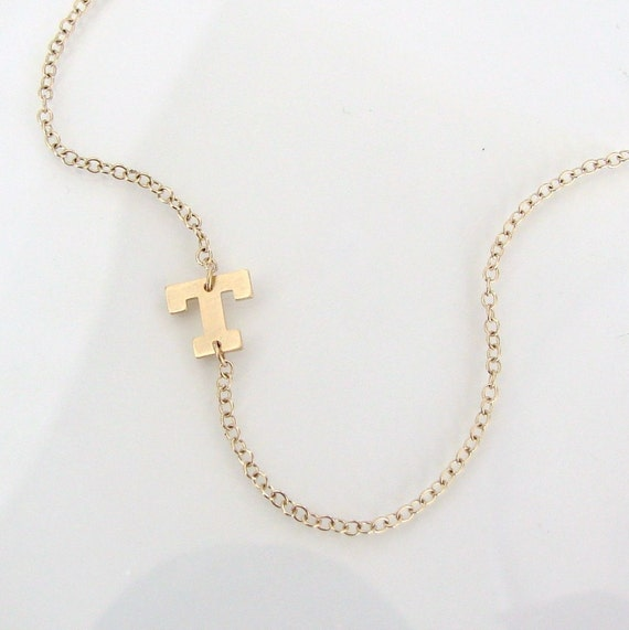 Sideways Initial Necklace 14k Solid Gold Your By