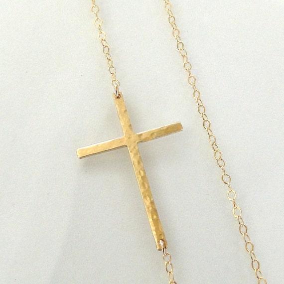 Sideways Cross Necklace, Off Center, 14K Gold Filled, Long, Sleek, And Hammered