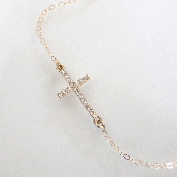 Small Diamond Sideways Cross Necklace, 14K Yellow or White Gold, Kelly Ripa, Taylor Jacobson, Celebrity Jewelry