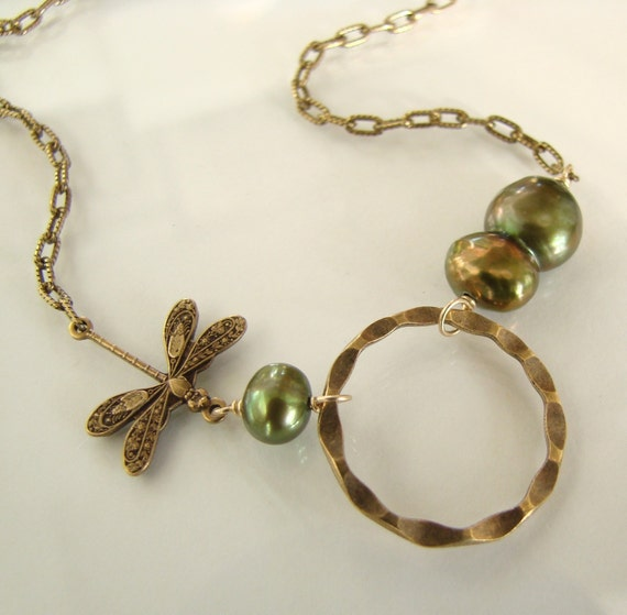 Je t aime - Vintage Brass Dragonfly, Circle, and Lustrous Emerald Green Freshwater Pearls - Necklace