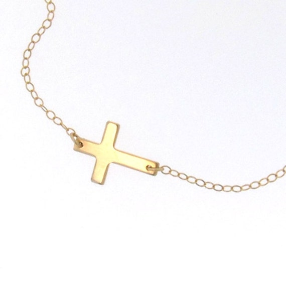 sideways cross necklace small 14k gold filled by