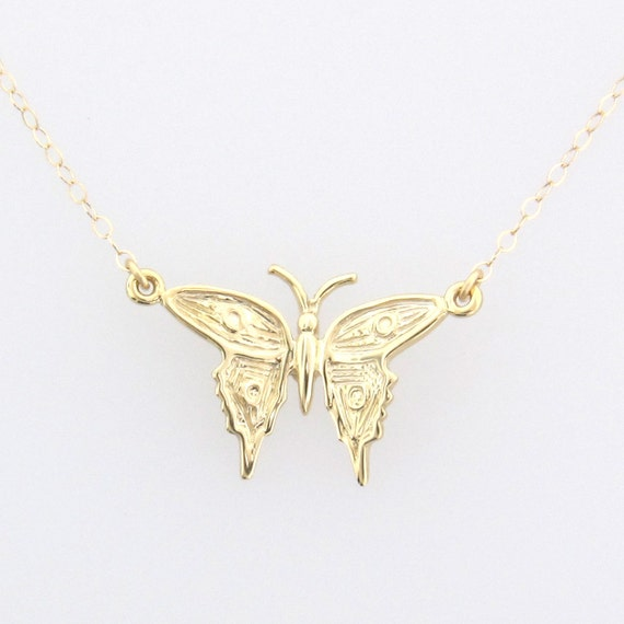 14K Solid Gold Butterfly Necklace - Sweet And Dainty - Yellow, White or Rose Gold