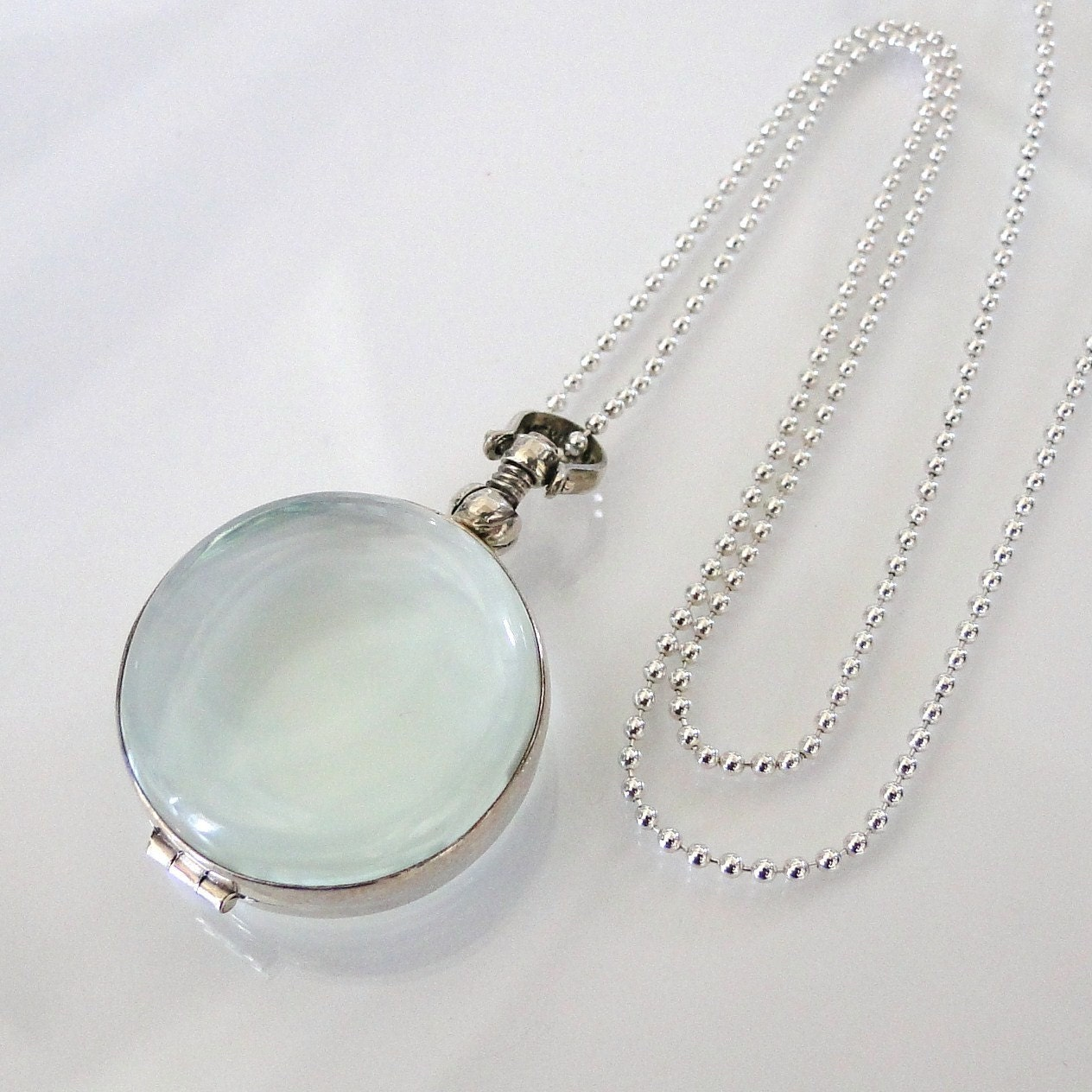 Glass locket necklacewith ball chain sterling silver clear zoom mozeypictures Choice Image