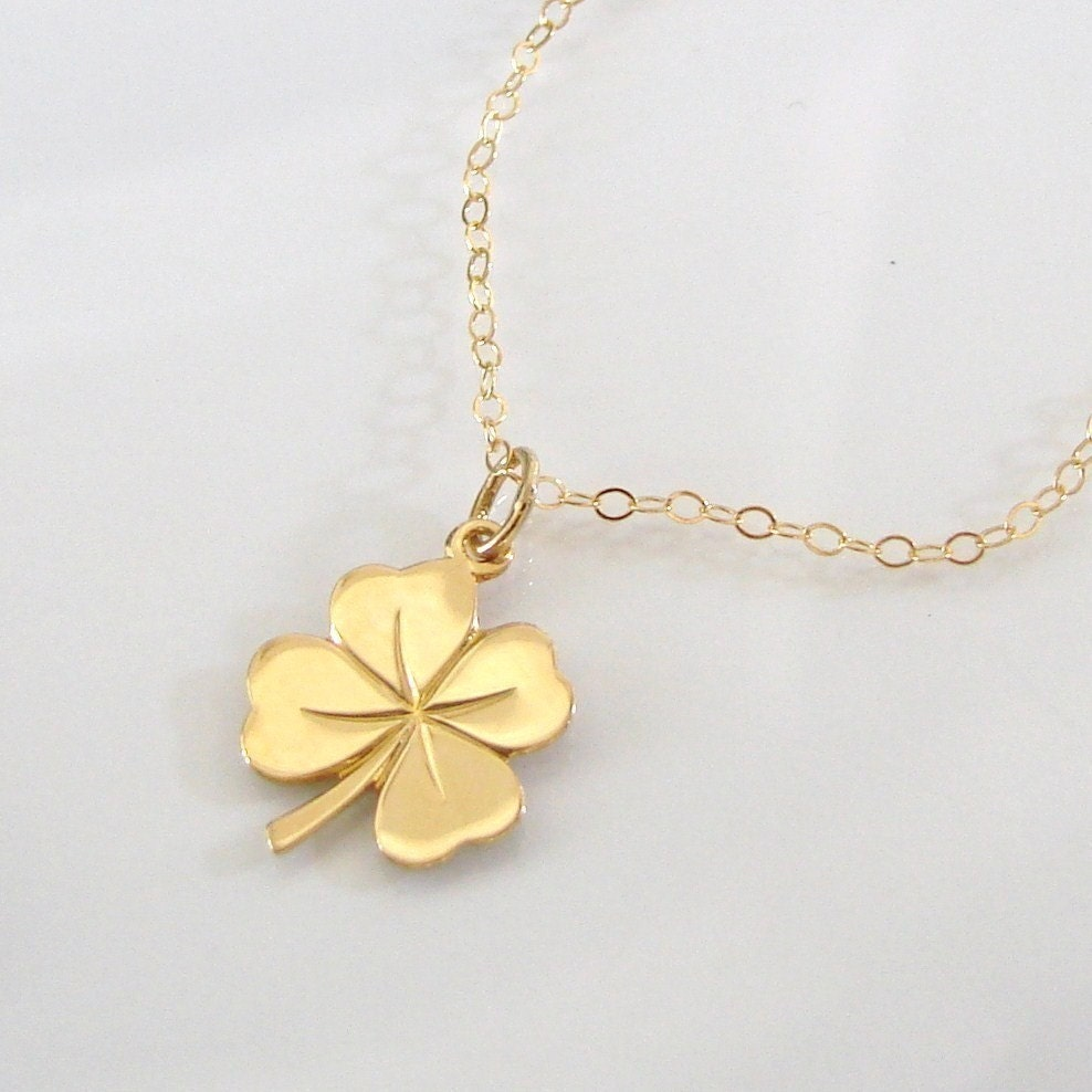 four leaf clover necklace 14k solid gold lucky charm