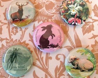 woodland pin set of five pins stag rabbit lamb locust orchid