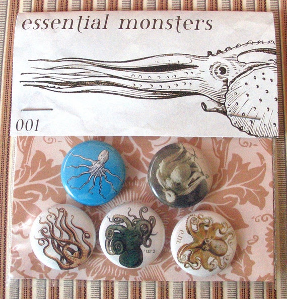 cephalopoda 001 pin set of five one inch pins octopus squid