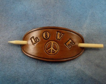 Love and Peace Leather Barrette