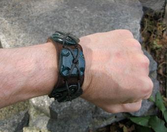Suede Leather Large Aqua blue Glass bead Pirate Cuff