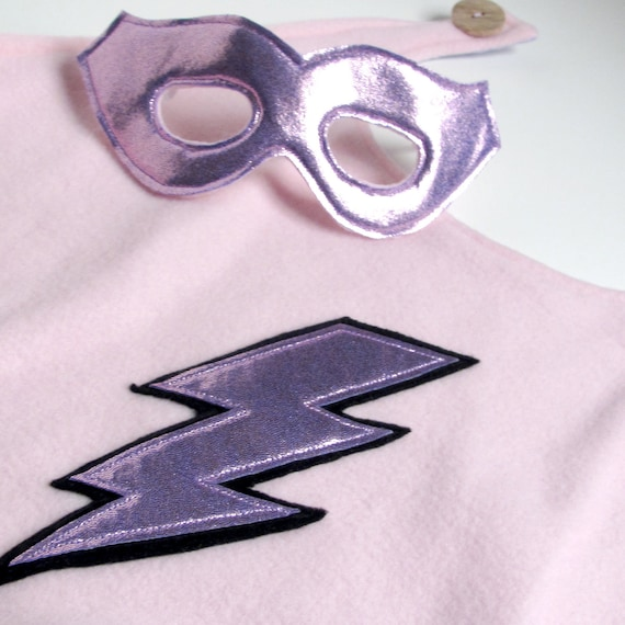 Super Hero Cape and Mask - Pale pink and Lavender (WOW020312-1R)