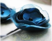 Fabric Flower Bobby Pins. Organza flower hair clips in PEACOCK TEAL. Set of Two. Your choice of hair pin to match your hair color.