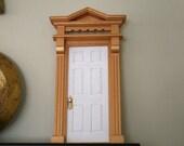 White Fairy Door With Gold Trim