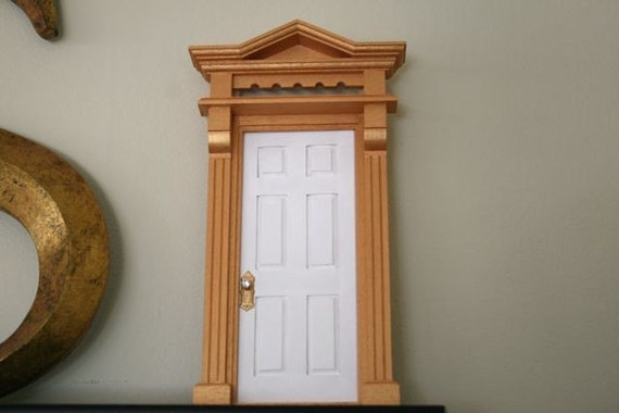 White fairy door with gold trim for White fairy door