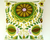 RESERVED - 2 x Vintage Fabric Pillow / Cushion Cover - Retro Mod Floral Print Green and Olive