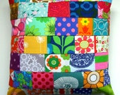 Bright Vintage Fabric Patchwork Pillow / Cushion Cover -  Retro Vintage Floral Mod Prints Fabric