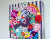Bird with Blooms - Unique Original Textile Art Embroidery Collage