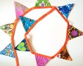 Bunting - Vintage Fabric Bright Retro Bunting for your Home or Party