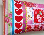 Patchwork Stripes Pillow - Bright Contemporary Birds and Hearts in Red, Pink, Turquoise, Yello and Green