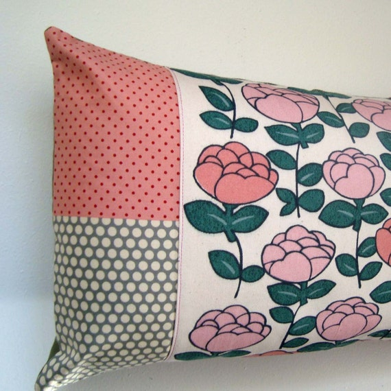 Pretty soft pinks patchwork fabric cushion / pillow cover - oblong