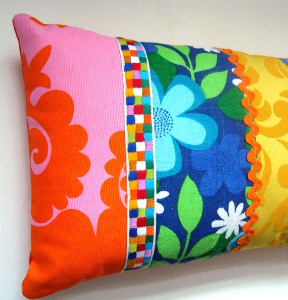 REDUCED - Vintage Retro  Fabric Patchwork Pillow / Cushion Cover - Bright Mod Florals - Oblong / Lumbar