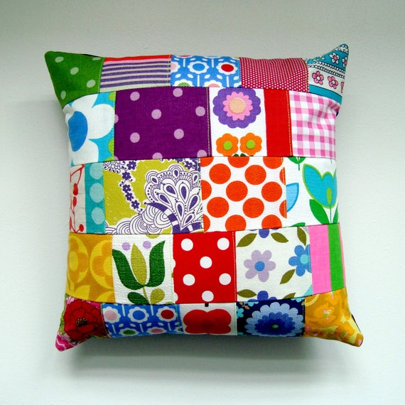 Cute Vintage Fabric Patchwork Pillow / Cushion Cover -  Small Accent Pillow - Kitsch Retro Candy Colours