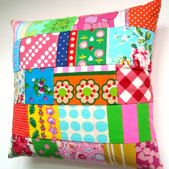 Cute Vintage Fabric Patchwork Pillow / Cushion Cover -  Small Accent Pillow - Kitsch Retro Brights
