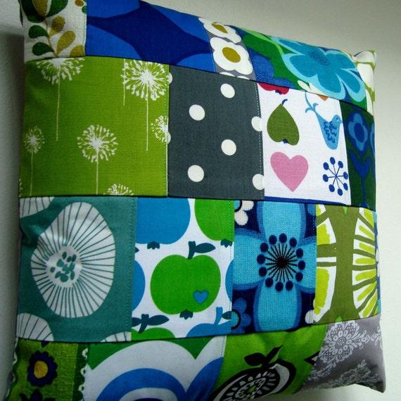 Vintage Retro Scandinavian Fabrics Patchwork  Pillow / Cushion Cover - Blue, Gray, Green