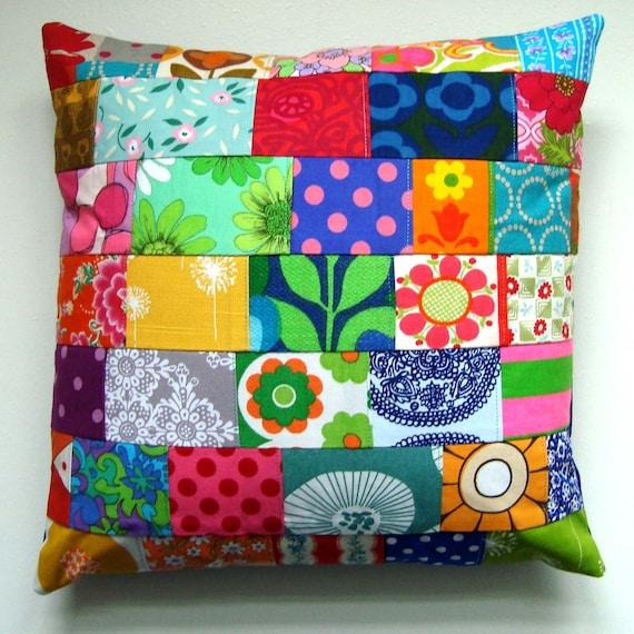 Bright Vintage Fabric Patchwork Pillow / Cushion Cover -  Retro Vintage Floral Mod Prints Fabric