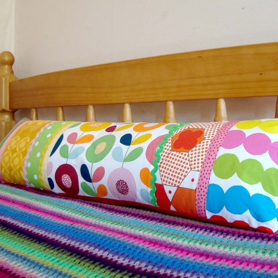 Long  Vintage Fabric Patchwork Pillow / Cushion Cover - Extra long bolster style oblong