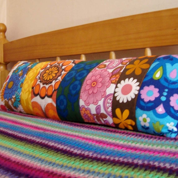Long  Vintage Fabric Patchwork Pillow / Cushion Cover - Extra long bolster style oblong - Bright Mod 1960's Prints