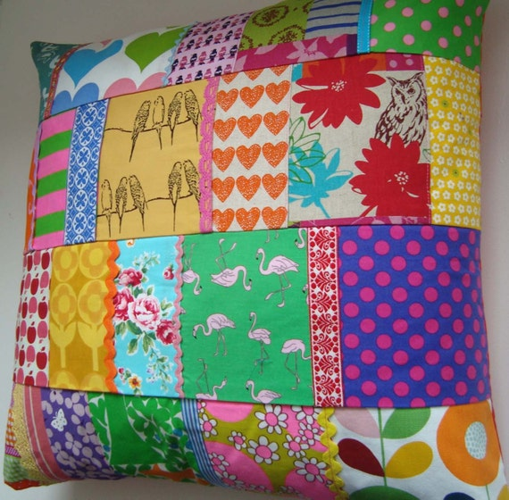 HUGE  Patchwork Pillow / Cushion Cover -  Super Bright - Birds and Flamingo's Ric Rac and apples