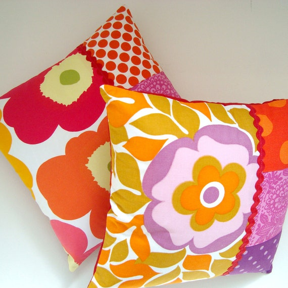 Perfect Sunny Pair of Vintage Fabric Patchwork Cushion / Pillow Covers - Retro Mauve, Pink, Orange