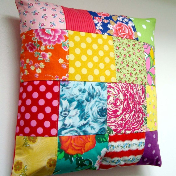 Bright Vintage Fabric Patchwork Pillow / Cushion Cover - Ditsy Florals, Polka Dots and 1950's Roses - Kitsch Colours
