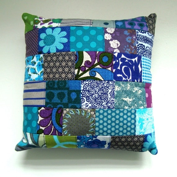 Vintage Fabric Patchwork Pillow / Cushion Cover -  Small Accent Pillow - Blue, Gray, Turquoise