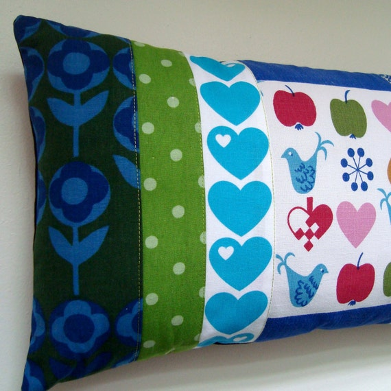 Scandinavian Vintage Fabrics Oblong Patchwork Pillow / Cushion Cover