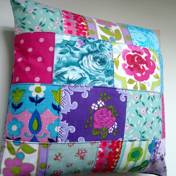 Boho Roses - Vintage Fabric Patchwork Pillow Cushion Cover