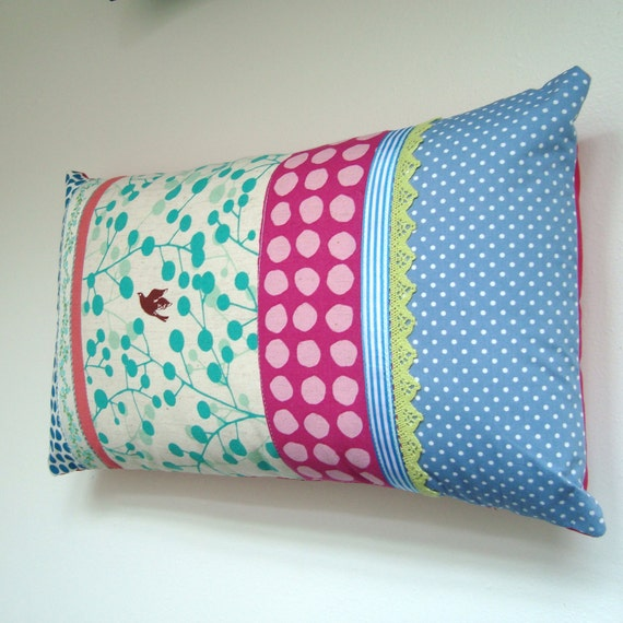 Soft tones Bird in Flight - Lacy Patchwork Cushion / Pillow Cover - Blue, Gray, Teal and PInk