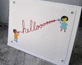 Hello Hand Sewn Card