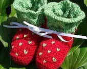 Strawberry Baby Booties - Hand Knitted