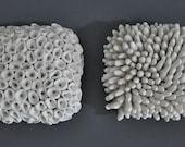 Pair Textured Porcelain Micro Tiles -  Wall Sculpture Art Modern 3D  Contemporary Modern Installation
