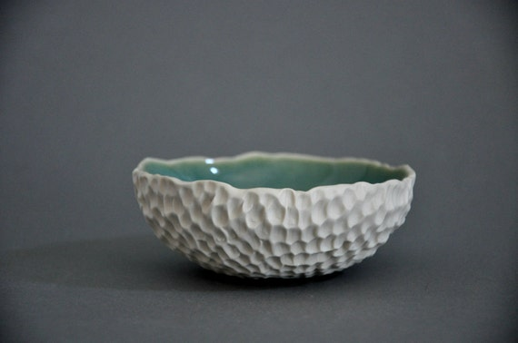 SALE - Seawater Blue Hive Dish Bowl - White Candle Votive Ring Holder
