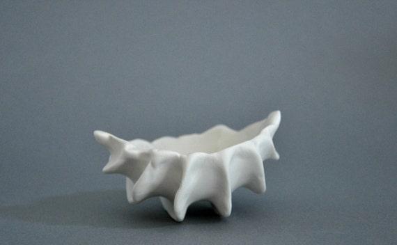 Micro Clam Bowl Dish - White Porcelain Ceramic Beach Decor Sea Shell